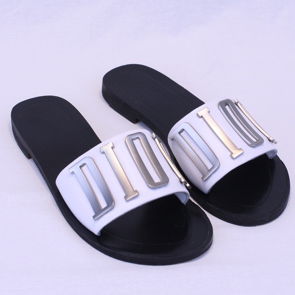 0e718eda661014 Dior Shoes | Christian Evolution White And Black Slides | Poshmark